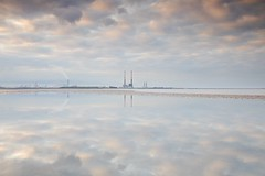Reflecting on clouds (Kevin.Grace) Tags: ireland dublin sandymount poolbeg clouds reflection sunset chimneys mr