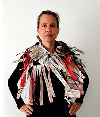 wearing the news (Ines Seidel) Tags: wearing wearable headlines news newspaper paper words text wordart textart workinprogress ongoing series tragbar zeitungspapier zeitung nachrichten