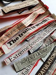 for wearing the news (Ines Seidel) Tags: wearing wearable headlines news newspaper paper words text wordart textart workinprogress ongoing series tragbar zeitungspapier zeitung nachrichten