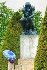 umbrellas-1 (albyn.davis) Tags: paris france europe weather umbrella people statue sculpture rodin thinker art color green blue rain garden museum