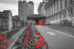 Red Bikes For Hire (Kev Walker ¦ Thank You 4 Comments n Faves) Tags: london waterloo station train transport railway travel england transportation uk rail building city architecture public landmark urban clock tourism modern railroad subway tube europe time underground metro commute hour commuter victoria industrial british platform movement exterior hands english entrance famous history passenger cartography business express industry track rush departure road bikes bus