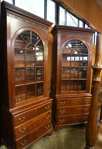 Ray Pine pair Chippendale glass door bookcases ($2,016)