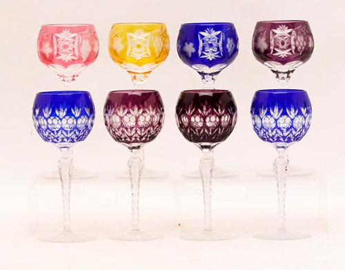 "Royal Doulton ""Covington""; Lausitzer colored crystal wine hocks ($134.40)"