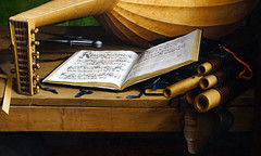 Holbein, The Ambassadors, detail with hymn book by Martin Luther