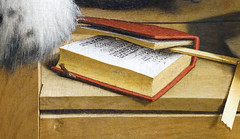 Holbein, The Ambassadors, detail with Peter Apian's A New and Well-grounded Instruction in All Merchants' Arithmetic