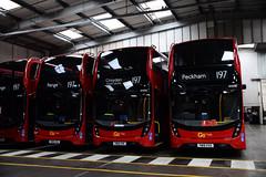 Go-Ahead London EH335, EH337, EH332 & EH328, blinded for Route 197, Croydon Bus Garage (e400olympus) Tags: goahead london metrobus eh335 eh337 eh332 eh328 yw19vva yw19vve yw19vvk yw19vvh adl alexander dennis enviro 400 mmc hybrid e40h e400mmc