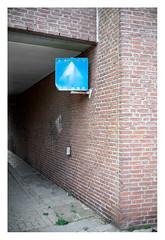 One way (vaguely) (leo.roos) Tags: verkeersbord trafficsign eenrichtingsverkeer oneway wall muur blue bord compo steen blau prime manu a7rii voigtlandernoktonclassicsc35mmf14vm cosina cv mmount nokton3514 voigtlander3514 darosa leoroos vlissingen