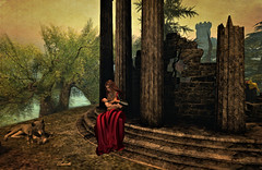 Due madri - Two mothers (Ladmilla) Tags: sl secondlife landscape art digital digitalart exhibition artexhibition leonardo leonardodavinci italy italian renaissance theedgeartgallery poem poetry mothers wolves ruins tree baby woman