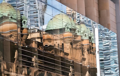 Queen Victoria building reflected and refracted (grannie annie taggs) Tags: building architecture abstract reflection curves sydney