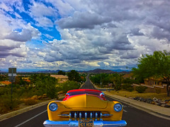 Up on Lookout Mountain (oybay©) Tags: goodguysscottsdale goodguys fordgalaxie galaxie galaxie500 enormous big wheelbase convertible pink pinkcar peptobismol fordvictoria victoria ford fordmotorcompany sandiego car automobile color colorized whitewalltires whitewall tires angle suicidedoors mercury merc hotrod hot rod flames flamin coolcar classiccar sunset love petermax sideview dramatic colors colorful midnight oasis arizona glendalearizona shining bright craquelure vehicle lines outdoor barrettjackson scottsdale carauction sky road sandersonford glendale