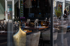 De Koets (Julysha) Tags: restaurant window reflection denhaag city street 2019 summer june d7200 acr nikkor1680284 glasses biker