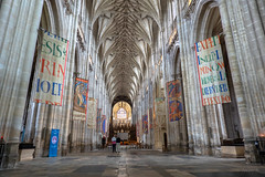 Nave Looking East (Jocey K) Tags: triptoukanderoupe2019 june england uk winchester hampshire architecture building winchestercathedral cathedral church flags vault nave floor interior people