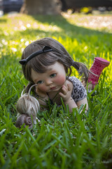 Magical garden encounters (Dolly Adventures in the Galland Household) Tags: saffi doll custom collectibles childhood cute bjd girl ball jointed dollartistry dollphotography outdoor garden larry snail dollchateau collectors friends