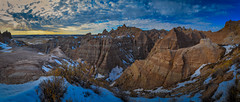 Evening in the Badlands (RWGrennan) Tags: badlands national park nps south dakota travel outdoors adventure nikon d610 landscape monochrome mono clouds mountains erosion dramatic rwgrennan rgrennan ryan grennan overlook scenic moody pano panormaic peaks earth stark evening united states