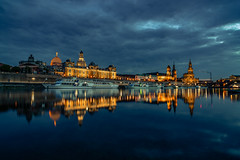 The classic (Björn Hempel) Tags: germany dresden elbe skyline architecture river cloudy reflection evening silhouette architektur fluss wolkig night nacht abend thebluehour