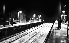 Train to nowhere (Chaz Cheadle) Tags: pushprocess train station night winter snow