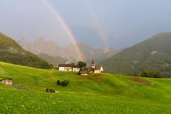 Santa Maddalena rainbow (Lux Aeterna - Eternal Light) Tags: funes rainbow church dolomites