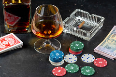 A glass of cognac with poker cards, money and chips (wuestenigel) Tags: bet glass gambling risk luck table background play betting money dollars ace player success card game cards win strategy concept chance cognac casino aces chips leisure poker holding green gamble winner addiction cash drink getränk kasino noperson keineperson tabelle color farbe glücksspiel stilllife stillleben bar freizeit desktop risiko glas bottle flasche light licht sucht old alt glück vintage jahrgang recreation erholung