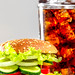Vegetable vegetarian Burger with a cold glass of Pepsi