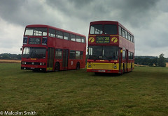 Essex Bus Rally 2019 (M C Smith) Tags: bus leyland titan essex rally buses red london yellow green grass numbers letters symbols trees volvo sky blue grey rain raining 215 256 fields brown shadows