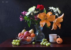 August Imagination (Esther Spektor - Thanks for 16+millions views..) Tags: stilllife naturemorte bodegon naturezamorta stilleben naturamorta composition creativephotography art summer tabletop flowers bouquet food fruit paeach pear apricot grape cluster vase cup bowl ceramics glass pattern ambientlight white green yellow orange red burgundy brown black estherspektor canon