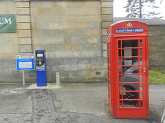 Red Telephone Box and Pay and Display Meter, Elgin, June 2019 (allanmaciver) Tags: red telephone box pay display meter charge email text modern iconic glass releflections elgin moray