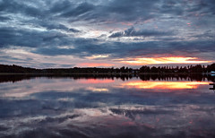 Goodbye lovely sun! See you tomorrow... (L.Lahtinen (nature photography)) Tags: finland summer sunset lake reflections