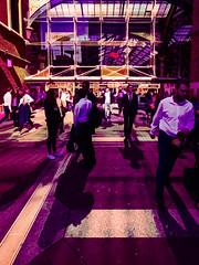 Leaving Liverpool Street Station (Steve Taylor (Photography)) Tags: walking leaving digitalart architecture black mauve purple orange brown contrast people uk gb england greatbritain unitedkingdom london shadow sunny sunshine liverpoolstreetstation station