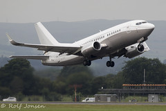 9H-MAC Boeing 737-500 Maleth Aero Glasgow airport EGPF 08.08-19 (rjonsen) Tags: plane airplane aircraft aviation airliner takeoff deaprture charter business jet