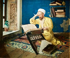 Muslim theologist reading the Qur'an, paitend in the Orientalist style  by Osman Hamd Bey, Ottoman artist, intellectual and director of various museums in Instambul (pedrosimoes7) Tags: osmanhamdibey ottomanartist orientaliststyle turkey instambul caloustegulbenkianmuseum sãosebastiãodapedreira lisbon portugal alcorão quran reading read reader leitor lendo ler ✩ecoledesbeauxarts✩ arttate