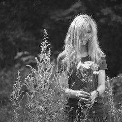 you belong among the wildflowers... (l'imagerie poétique) Tags: 120film mediumformatfilm ilforddelta400 6x6 squareformat annesilver amongthewildflowers broncosqa zenzanon180mmf45 selfportrait nature blackandwhitefilm yellowfilter