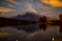 Mount Rundle at Night (Kirby Wright) Tags: mount rundle mountain two jack lake reflection milky way sky dark night clouds minimal light pollution mirror trees banff national park alberta canada up north stargazing long exposure jupiter saturn vacation take me back nikon d750 rokinon 35mm f14 manfrotto tripod ioptron skyguider pro