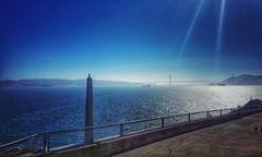 the view from the wharf...(HFF) (BillsExplorations) Tags: fencefriday fence railing pier alcatrazisland alcatrazprison sanfrancisco california bay wat blue goldengatebridge bridge