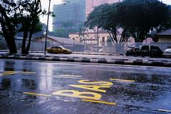 (Hem.Odd) Tags: busstop malaysia kualalumpur asia rain street cars olympusxa3 agfavista400
