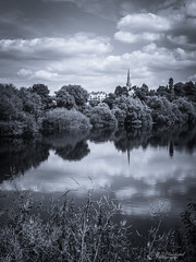 Out over the water (Through_Urizen) Tags: category england herefordshire landscape places wilton canon70d canon1585mm canon outdoor town church churchspire couuntryside rural river rossonwye riverwye mono monochrome tint trees riverbank sky clouds uk unitedkingdom greatbritain