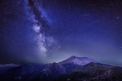The Delta Aquariids meteor shower and Milky Way over Mount St. Helens, at Windy Ridge in Washington State with Mt. Hood, Oregon visible in the lower left corner (diana_robinson) Tags: deltaaquariids2019 meteorshower milkyway nightphotography stars nightsky meteors mountain mthood oregon snow windyridge mountsthelens washingtonstate