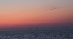 Sunset at Pensarn (Gill Stafford) Tags: gillstafford gillys image photograph wales northwales conwy pensarn abergele beach sands windfarm wind turbine sunset