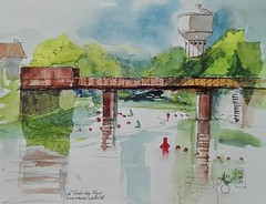 Le Pont de Fer (andreelg) Tags: aquarelle watercolour encre ink collage mixmedia pont bridge