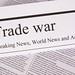 Newspaper with the headline Trade war