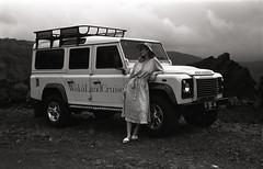 Bali Chic  (FP4+) (Harald Philipp) Tags: bali woman elegant chic landrover volcano indonesia retinaiiic kodakretina 35mm 135 monochrome blackandwhite foldingcamera vintagecamera schneiderkreuznach xenon 50mm f2 fp4 d76 selfdeveloped homedeveloped