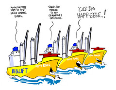 three happy freighters (DSL art and photos) Tags: cartoon donlee freighter saltie greatlakes biglift windturbine cargo happy pharrell