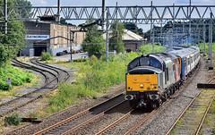 Second-Man Wave (whosoever2) Tags: uk united kingdom gb great britain england nikon d7100 train railway railroad august 2019 europhoenix rog class37 37800 longport stoke staffordshire wabtec brush flex class769 769450