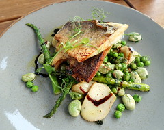 Pan Fried Sea Bass with Broad Beans, Peas, Mushroom, Asparagus and Balsamic Glaze (Tony Worrall) Tags: images photos photograff things uk england food foodie grub eat eaten taste tasty cook cooked iatethis foodporn foodpictures picturesoffood dish dishes menu plate plated made ingrediants nice flavour foodophile x yummy make tasted meal nutritional freshtaste foodstuff cuisine nourishment nutriments provisions ration refreshment store sustenance fare foodstuffs meals snacks bites chow cookery diet eatable fodder ilobsterit instagram forsale sell buy cost stock manchester gmr seabass fish greens