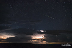 Lightning and Delta Aquarid (kevin-palmer) Tags: july summer lightning storm stormy thunderstorm sky weather clouds electric meteor deltaaquarid green night evening wyarno wyoming nikond750 nikon50mmf14afd stars starry astronomy astrophotography astrometrydotnet:id=nova3633807 astrometrydotnet:status=solved