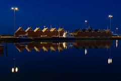 Harbour Seascape Theme II (Rind Photo) Tags: frederikshavn denmark harbourhouses seascape reflections beautiful night longexposure geotagged blue nikkor nikond200 ccd atmosphere silence clauschristoffersen rindphoto flickrrindphoto travel theme