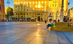 Zagreb, Croatia - sunset glow on pavement, Trg Bana Jelacica (jeffglobalwanderer) Tags: zagreb croatia europeantravel europe mainsquare sunset sunsetglow pavement stone publicspace downtown city relaxing lowertown trgbanajelacica