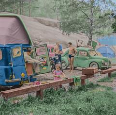 At the Lauttasaari camping ground in Helsinki in 1960 (frankmh) Tags: camping campingground lauttasaari helsinki 1960 vintage bedfordcadormobile motorcycle bmwr251960 finland colorization