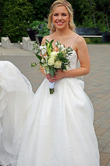 Her Wedding Day (HereInVancouver) Tags: bride wedding whiteweddingdress bouquet outdoors city urban vandusenbotanicalgardens portrait youngwoman blond herweddingday vancouver bc canada canong3x