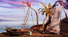 Purple skies (Alexa Maravilla/Spunknbrains) Tags: 8f8 secondlife sl littlebranch feverfete fundati decor decoration outdoors beach purple boat palm tree 3dmesh digitalphotography digital art landscape