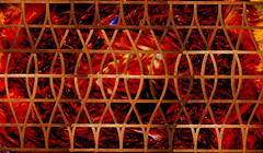 Wooden Gates of Fire (DDM Imaging) Tags: art artist wood wooden fire gates camera abstract sony hx50v red brown fence fencing photoshop layers composite photo photography photograph
